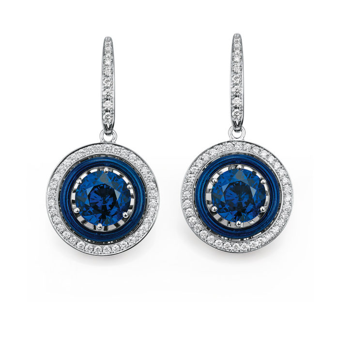 Diamond-set, white gold earrings with electric blue guilloche enamel and tanzanite