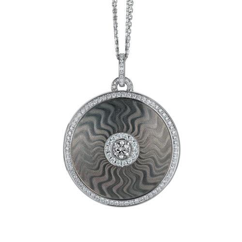 diamond-set, white gold locket-pendant with silver guilloche enamel