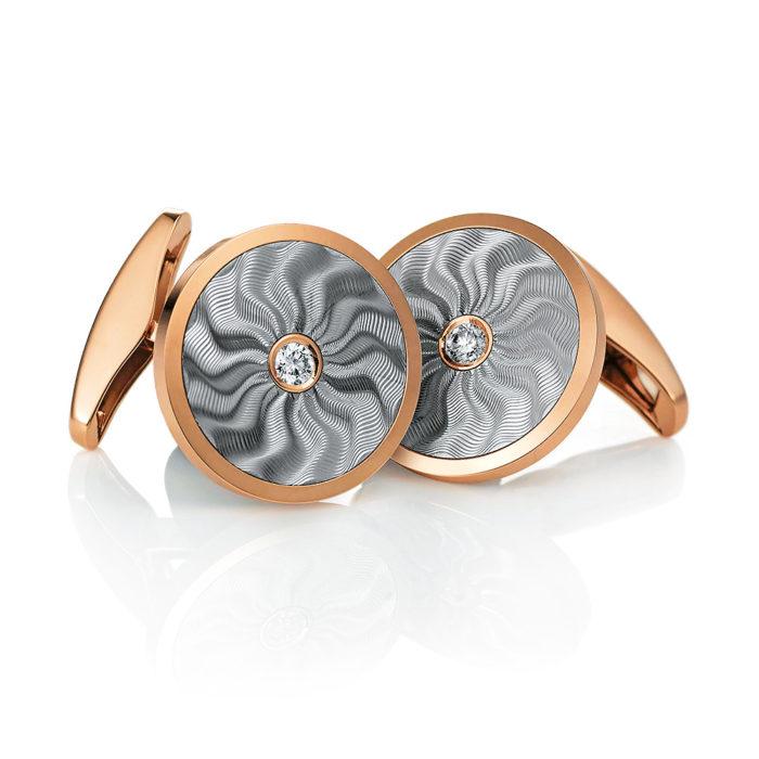 Runde diamant-besetzte Gold-Manschettenknöpfe mit Guilloche