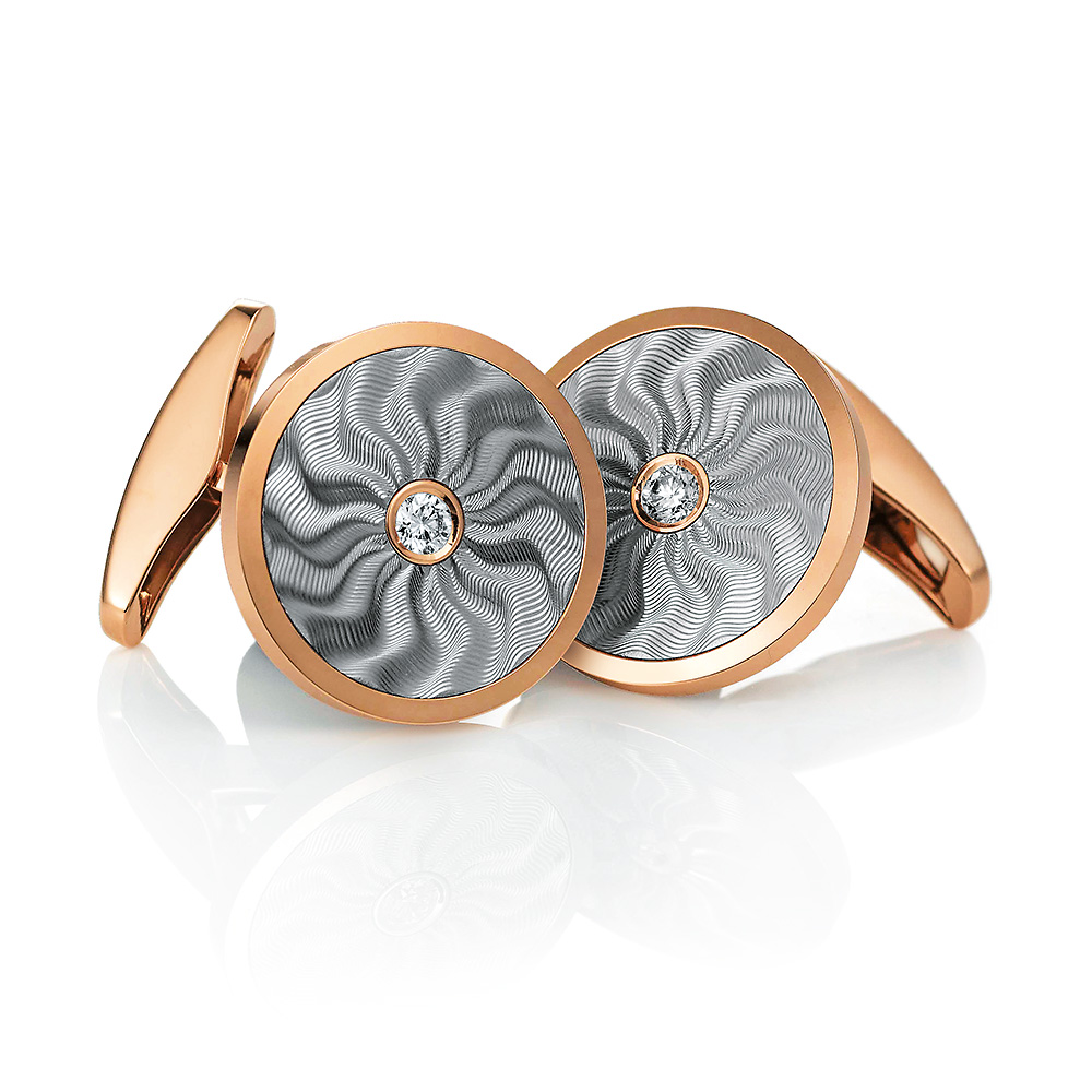 Round diamond set white and rose gold cuff links with flame guilloché engraving