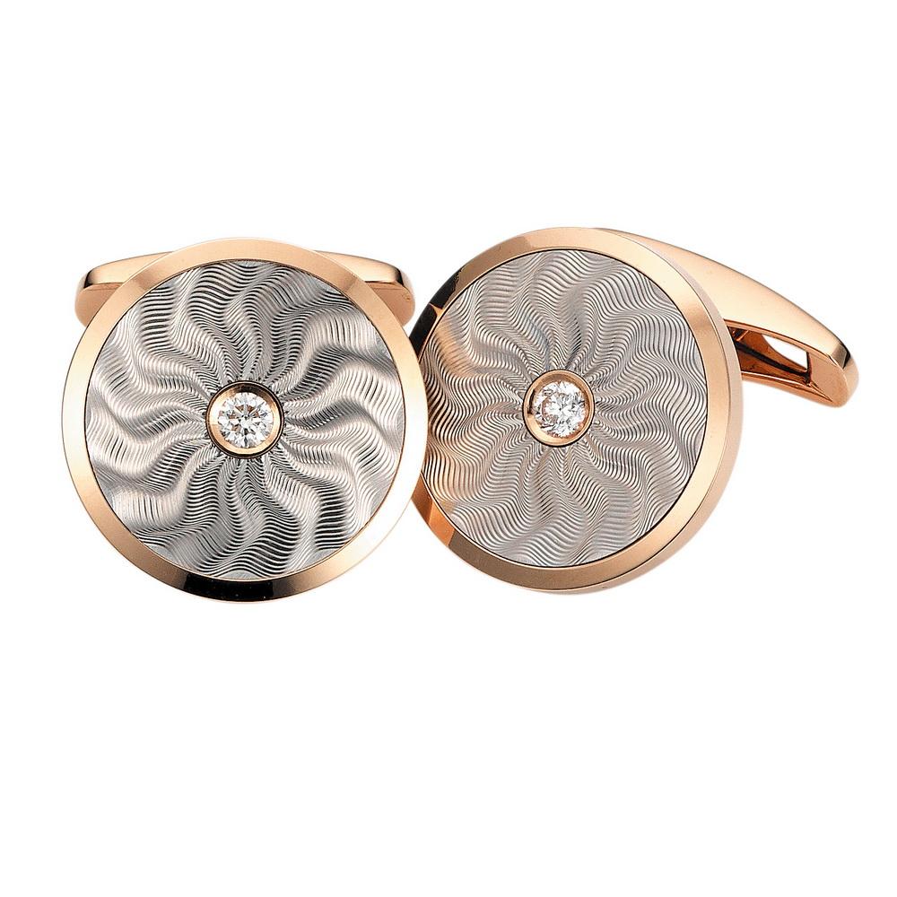 Diamant-besetzte Gold-Manschettenknöpfe mit Guilloche