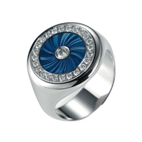 Diamond-set, white gold ring with light blue guilloche enamel
