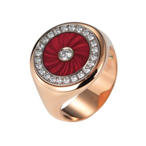 Diamond-set, rose-white gold ring with light red guilloche enamel