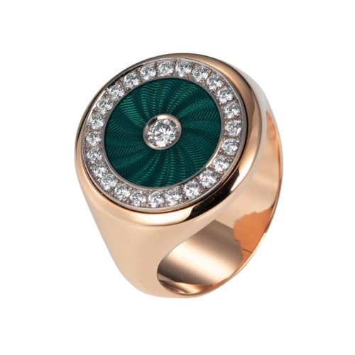 Diamond-set, rose-white gold ring with emerald green guilloche enamel