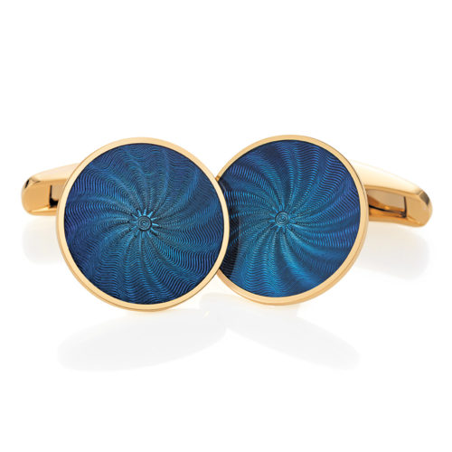 Round cuff links with blue vitreous guilloché enamel with a windmill pattern
