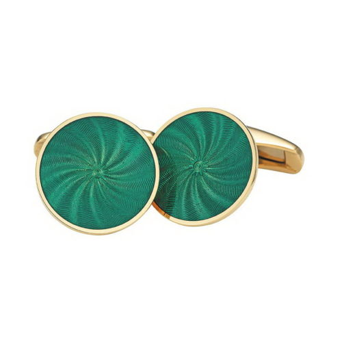Round gold cuff links with blue vitreous guilloché enamel with a windmill pattern Alt Text Deutsch