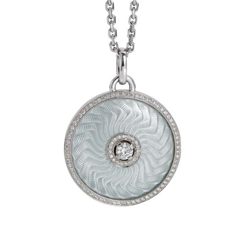 diamond-set, white gold with sterling silver pendant with silver guilloche enamel