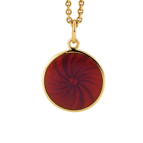 yellow gold pendant with opal raspberry guilloche enamel