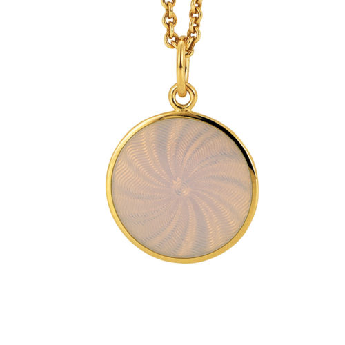 yellow gold pendant with opal white guilloche enamel