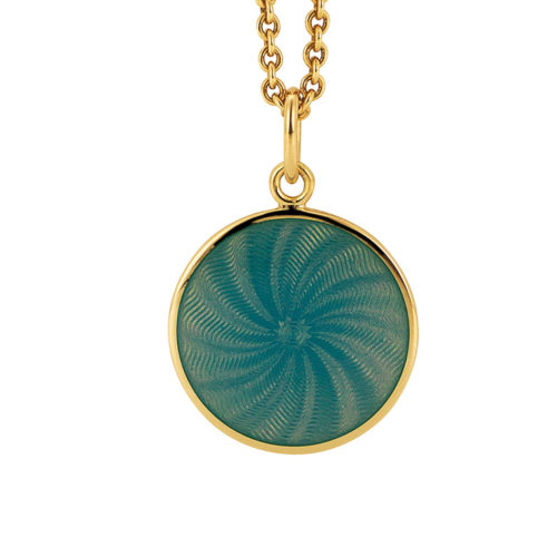 yellow gold pendant with opal turquoise guilloche enamel