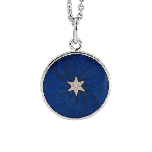 white gold pendant with electric blue guilloche enamel and star paillon