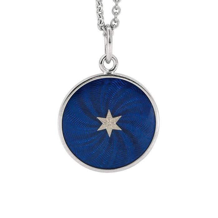 weiß-goldener Anhänger mit electric blau emailliertem Guilloche und Sternen-Paillon