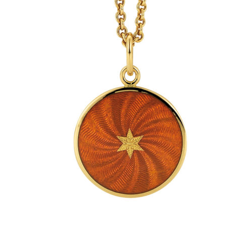 yellow gold pendant with autumn yellow and star paillon