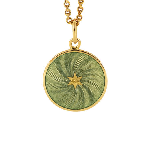 yellow gold pendant with light grey guilloche enamel and star paillon
