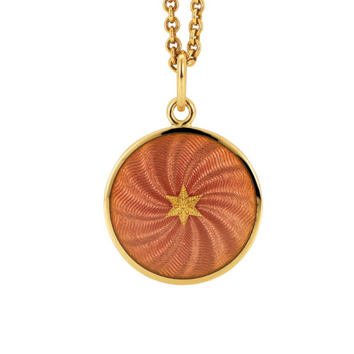 yellow gold pendant with aubergine red guilloche enamel and star paillon