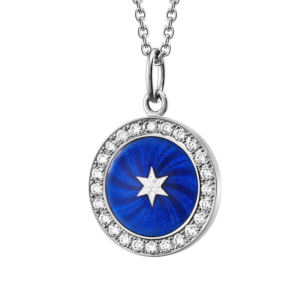 weiß-goldener, diamant-besetzter Anhänger mit blau emailliertem Guilloche und Sternen-Paillon