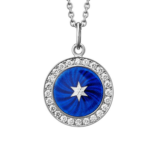 Diamond-set. white gold pendant with electric blue guilloche enamel and star paillon