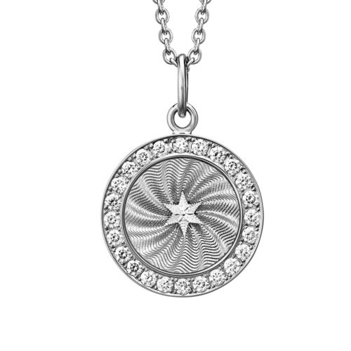 Diamond-set, white gold pendant with silver guilloche enamel and star paillon