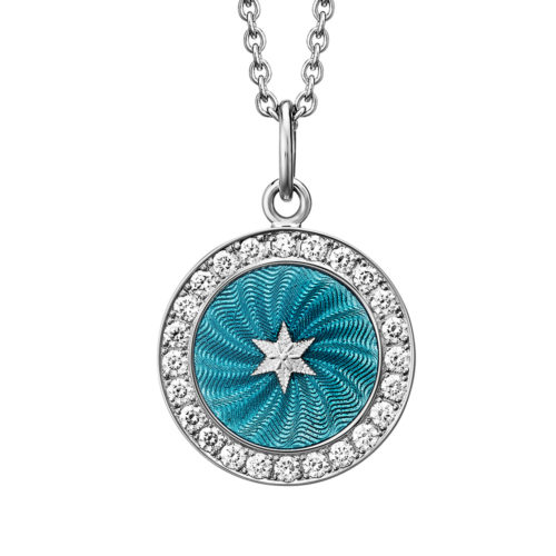 Diamond-set, white gold pendant with turquoise guilloche enamel and star paillon