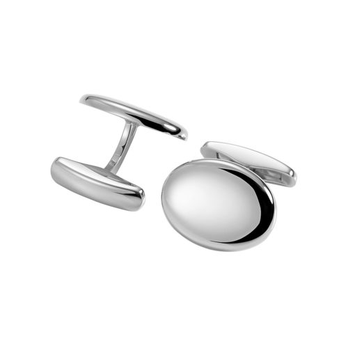 oval white gold cufflinks