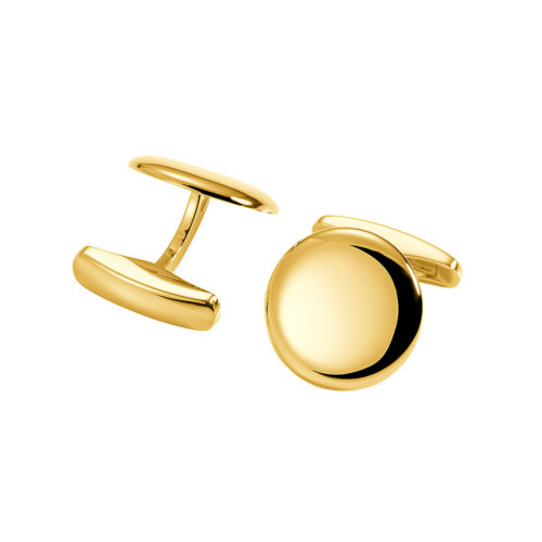 round yellow gold cufflinks