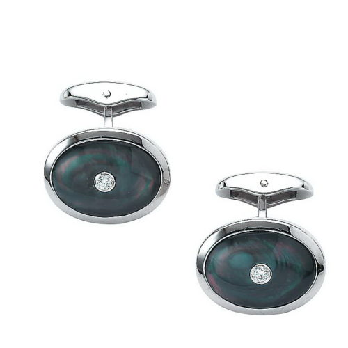 Diamod-set white gold cufflinks with black cut pearl inlay