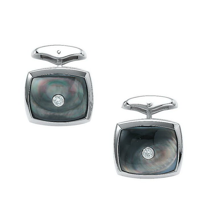 Diamond-set, white gold cufflinks with black cushion shaped cut of pearl inlay