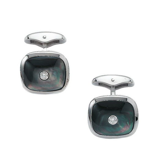 Diamond set, cushion-shaped, white gold cufflinks with black cut pearl inlay