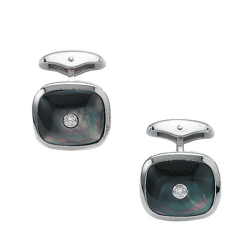 Diamond set, cushion-shaped, white gold cufflinks with black cut pearl inlay