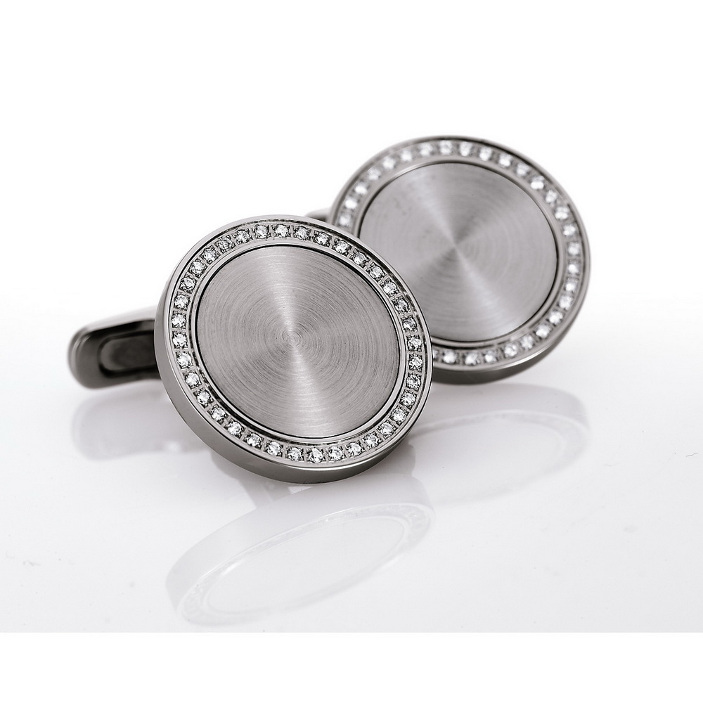 Round stainless steel cufflinks with diamond rim and stainless steel inlay