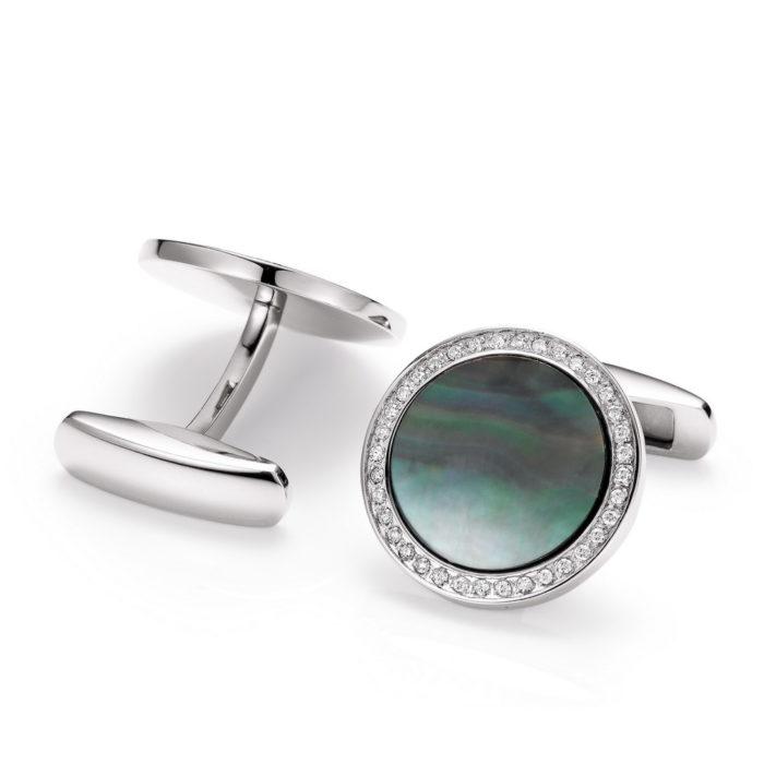 Runde Edelstahl-Manschettenknöpfe mit Diamantkranz und schwarzer Perlmutt-Intarsie