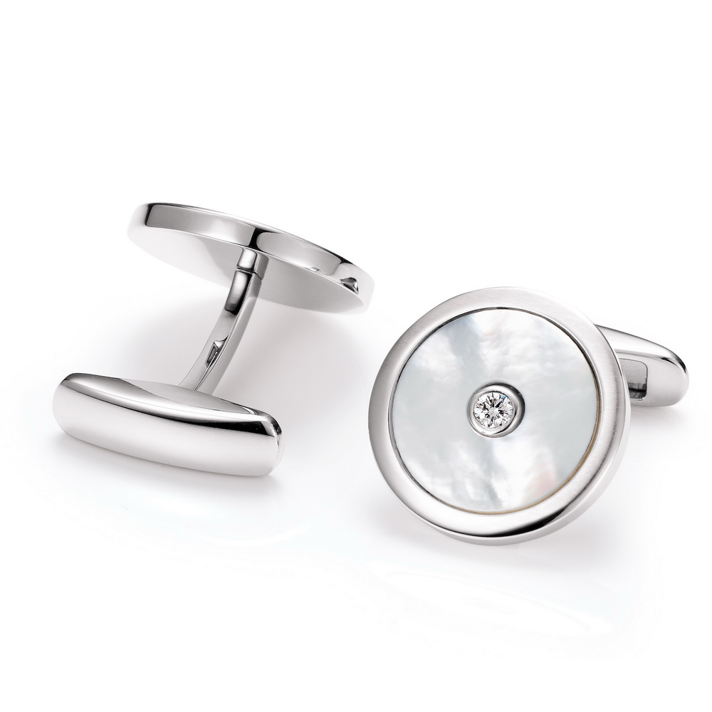 Round stainless steel cufflinks with diamond and white mother of pearl inlay