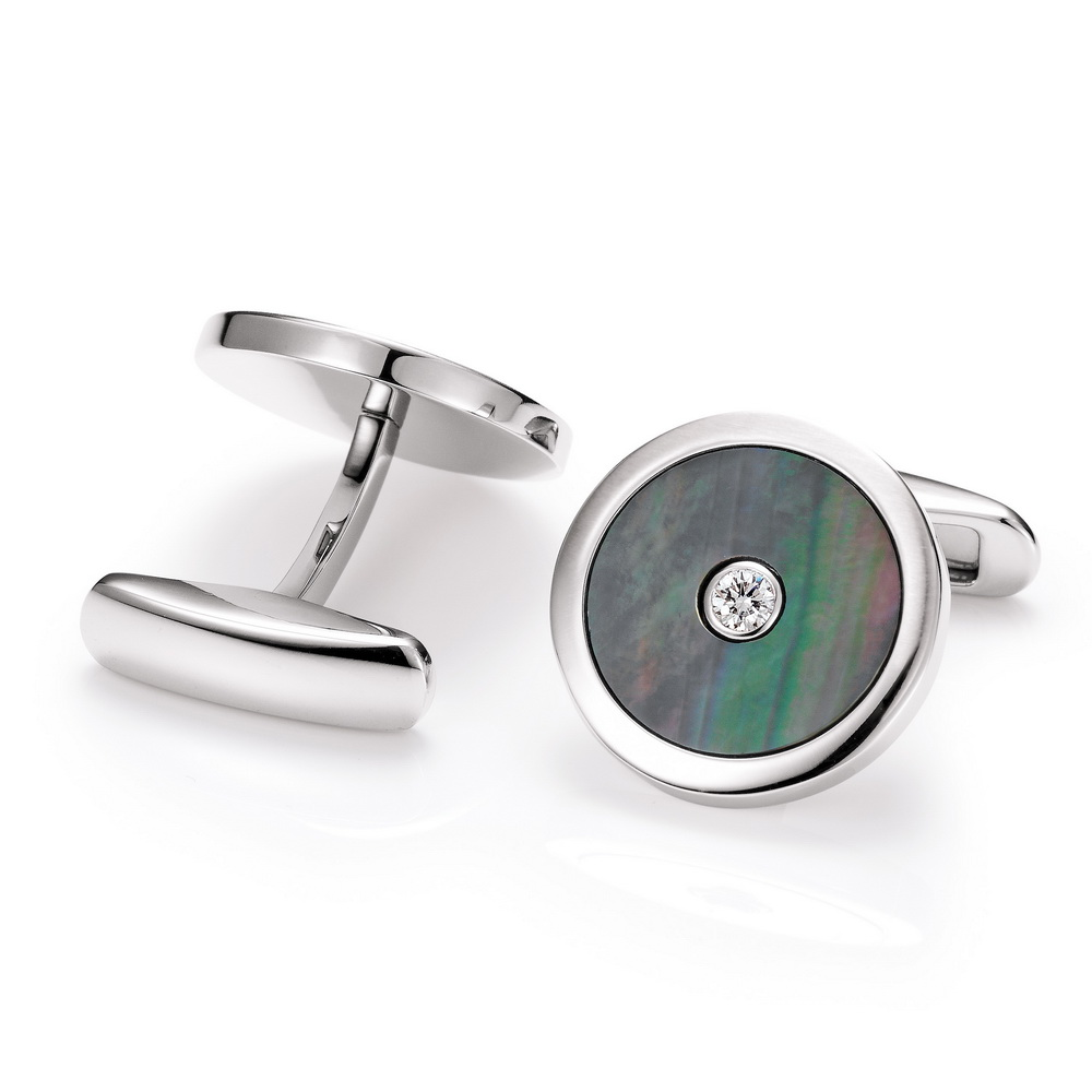 Round stainless steel cufflinks with diamond and black mother of pearl inlay