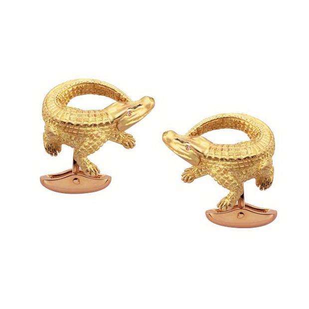 Diamant-besetzte Gold-Manschettenknöpfe-Krokodil