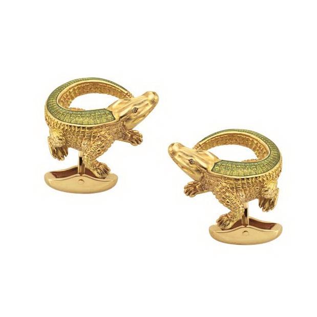 Diamond-set gold cufflinks with pastel green enamel