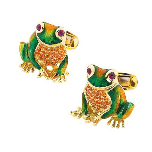Gold frog cufflinks with green, autumn yellow and emerald green enamel set with mandarin garnets and rubies
