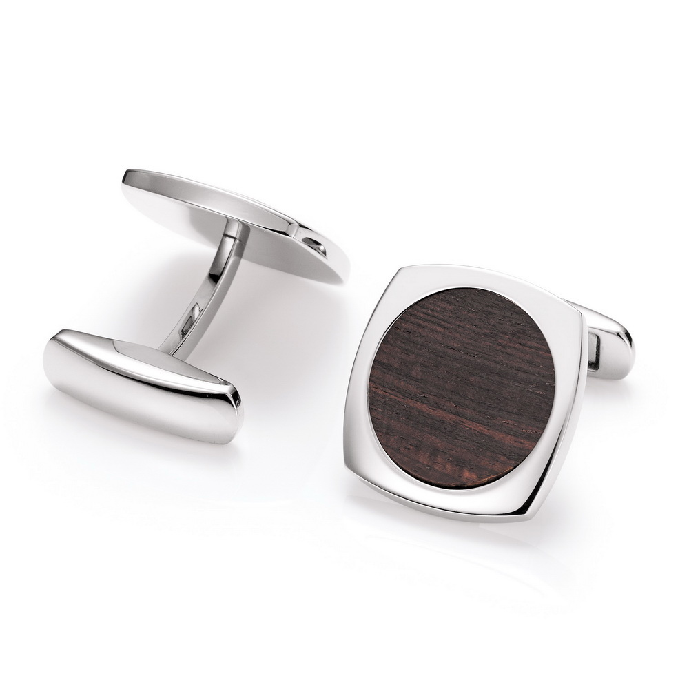 Stainless steel cufflinks, stretched square with round precious wood inlay