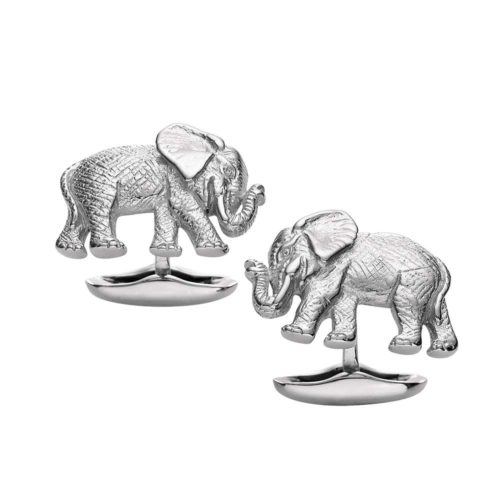 sterling-silver cufflinks with elephant motif