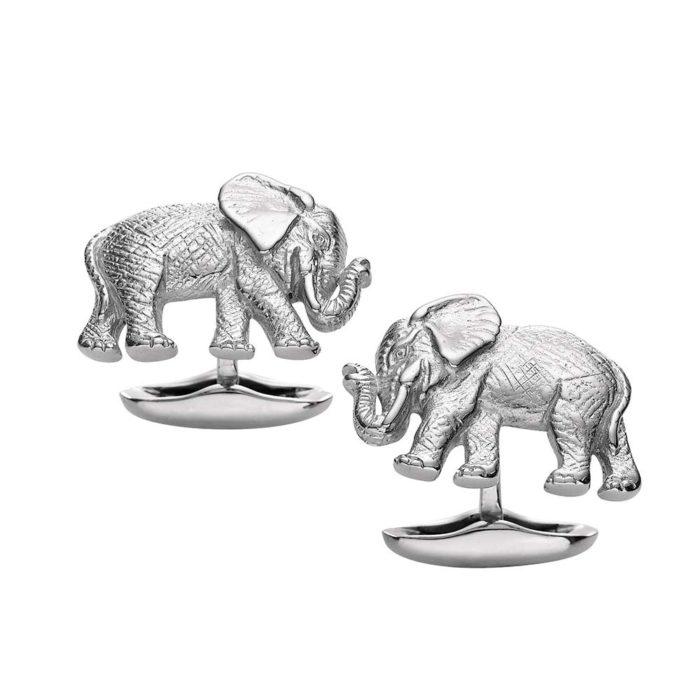 Silberne-Manschettenknöpfe-Elefant