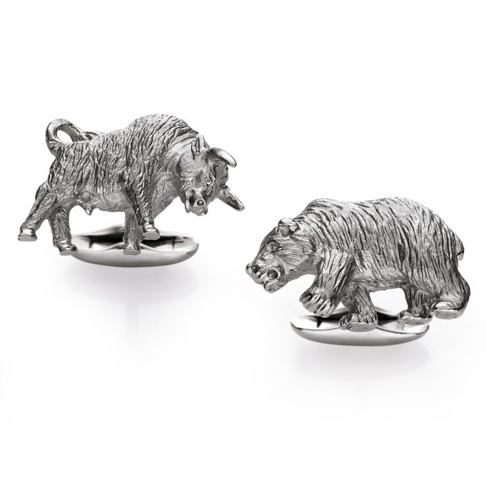 925/- sterling silver cufflinks with motif bull and bear