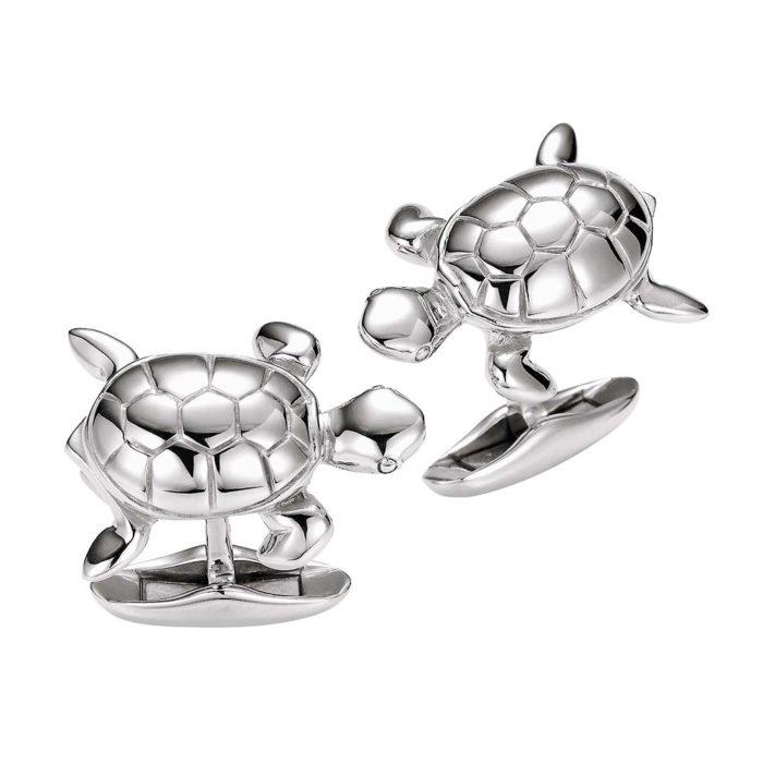 Silberne-Manschettenknöpfe-Schildkröte