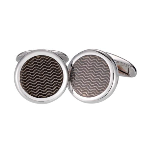round sterling silver cufflonks with silver enamel lacquer