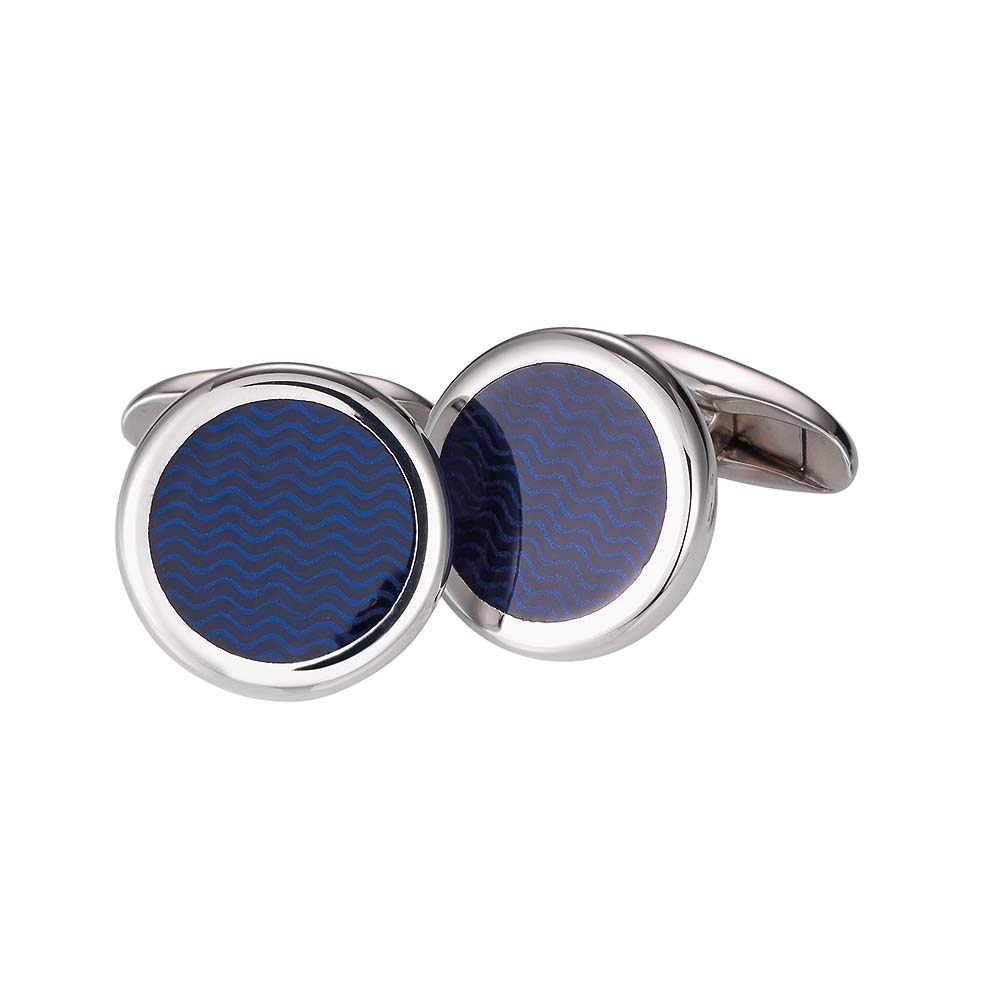 Round sterling silver cufflinks with blue enamel lacquer