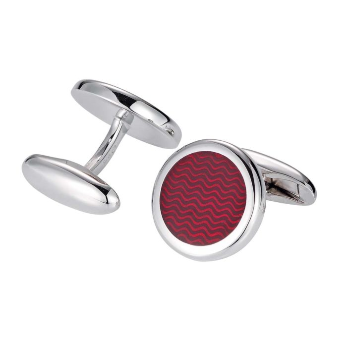 round sterling silver cufflinks with red enamel lacquer