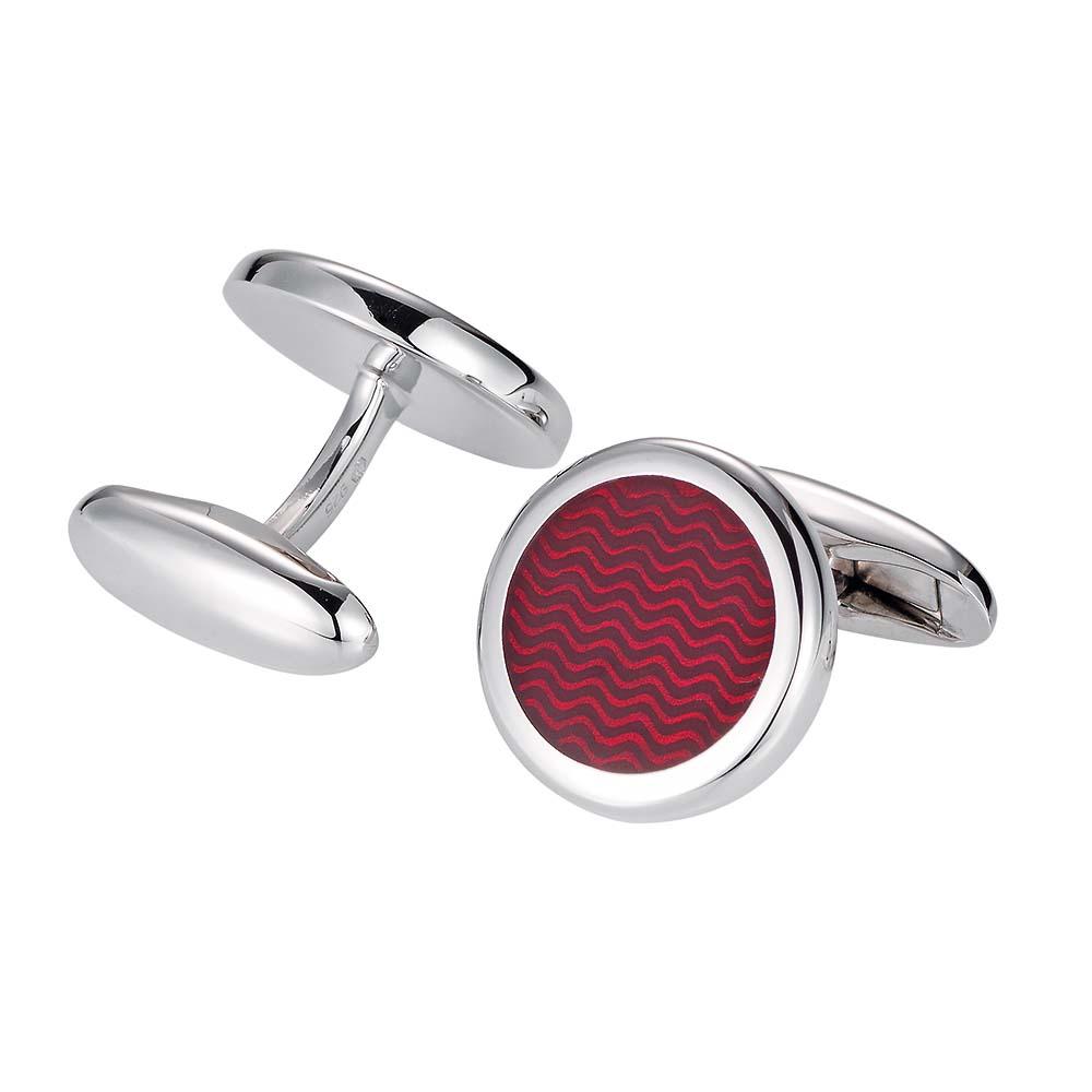 Runde Silberne-Manschettenknöpfe mit rotem Emaille-Lack