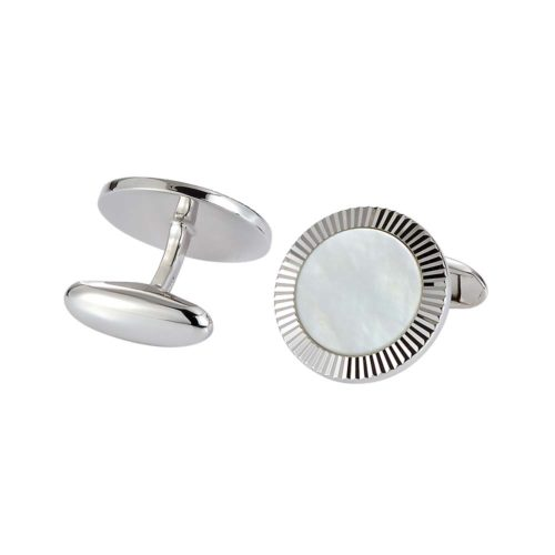 round sterling silver cufflinks with white cut pearl inlay