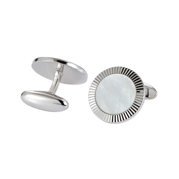 Runde Silberne-Manschettenknöpfe mit weißer Perlmutt-Einlage