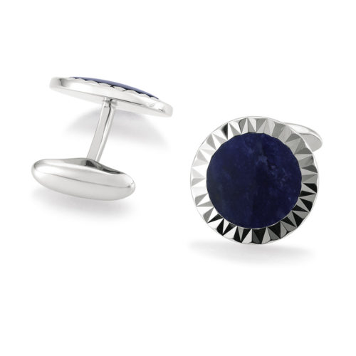 round sterling silver cufflinks with sodalite inlay