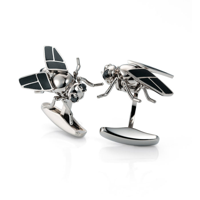 Gold fly-cufflinks set with grey enamel and black tourmalines