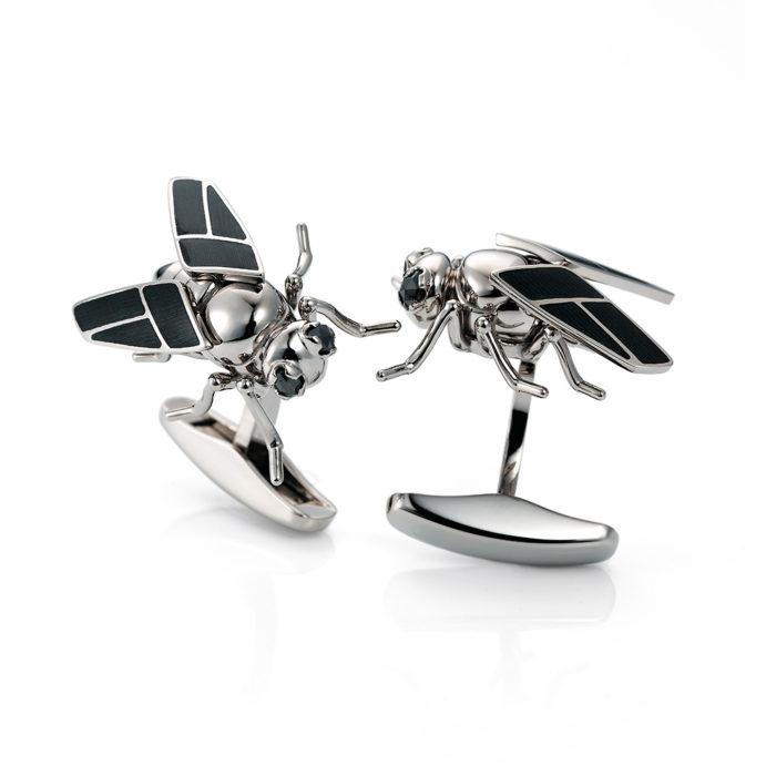 Gold-Manschettenknöpfe mit grauem Emaille und schwarzen Turmalinen besetzt-Fliege